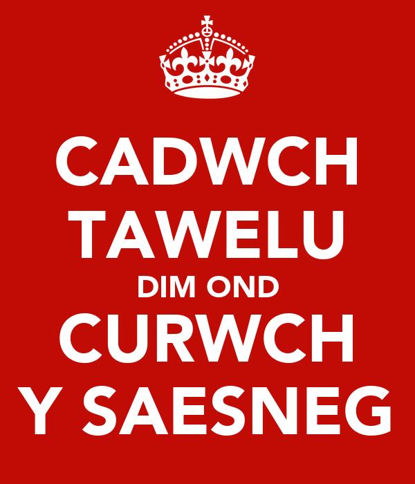 CADWCH TAWELU DIM OND CURWCH Y SAESNEG