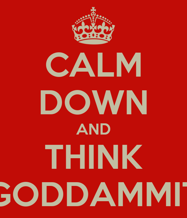 CALM DOWN AND THINK GODDAMMIT