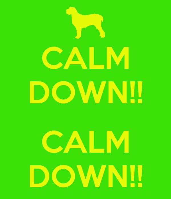 CALM DOWN!!  CALM DOWN!!