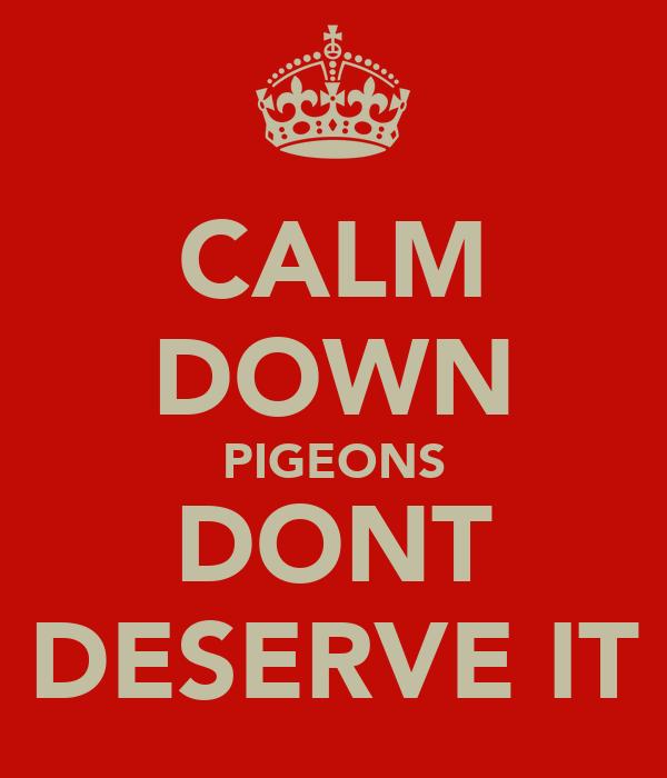 CALM DOWN PIGEONS DONT DESERVE IT