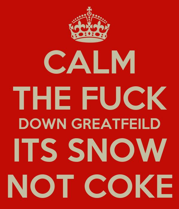 CALM THE FUCK DOWN GREATFEILD ITS SNOW NOT COKE