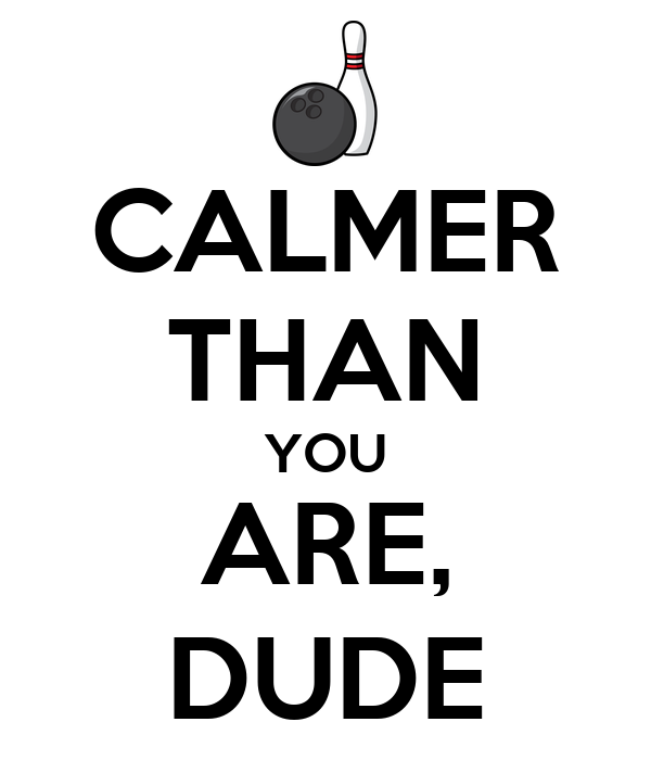 CALMER THAN YOU ARE, DUDE