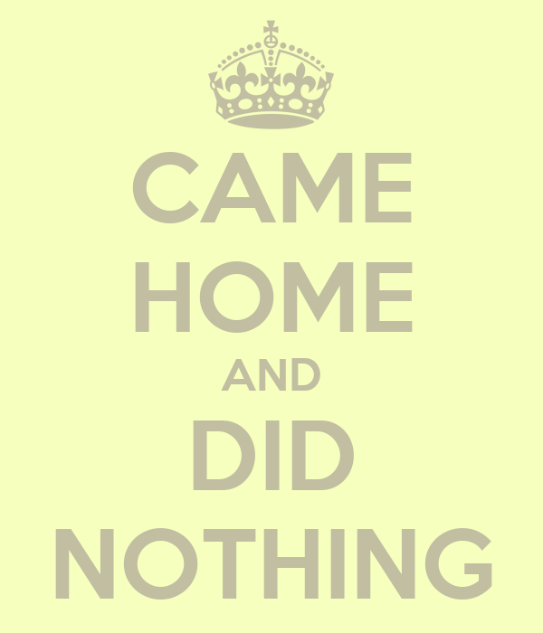 CAME HOME AND DID NOTHING