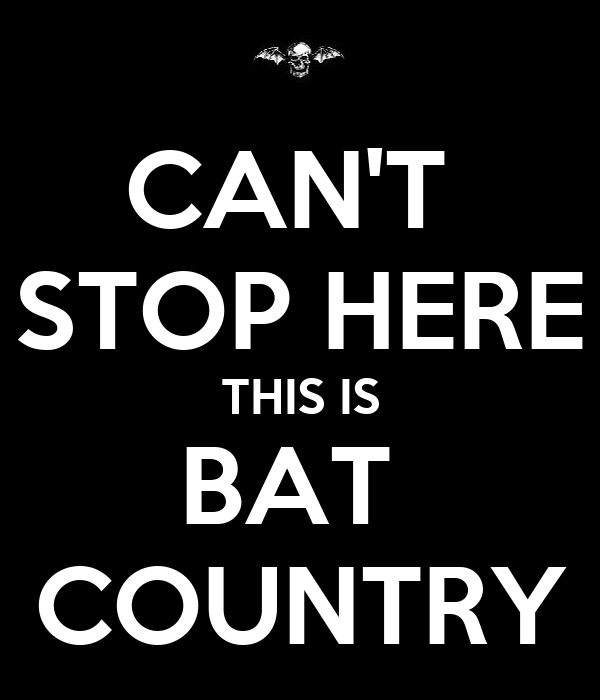 CAN'T  STOP HERE THIS IS BAT  COUNTRY