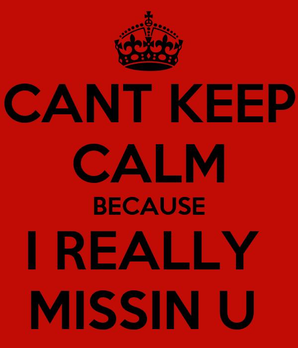 CANT KEEP CALM BECAUSE I REALLY  MISSIN U