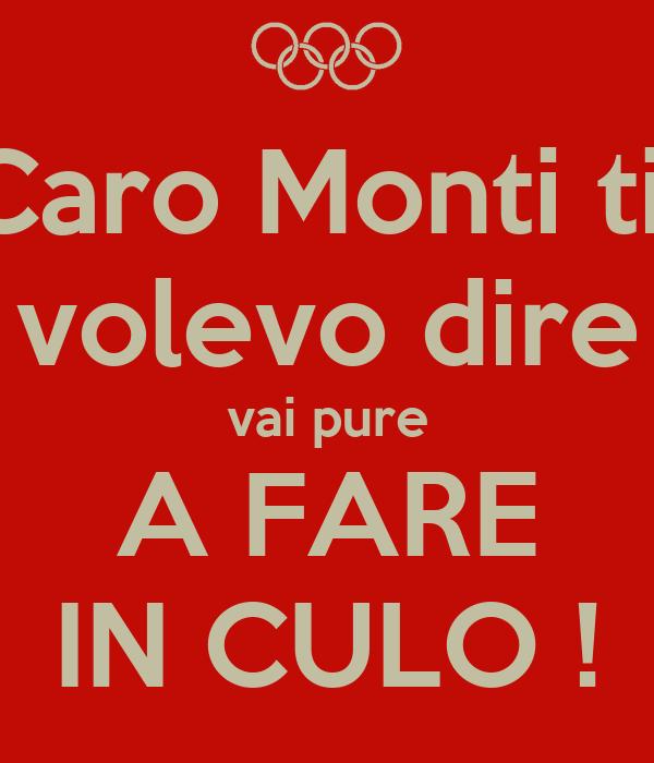 Caro Monti ti  volevo dire vai pure A FARE IN CULO !