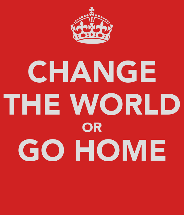 CHANGE THE WORLD OR GO HOME