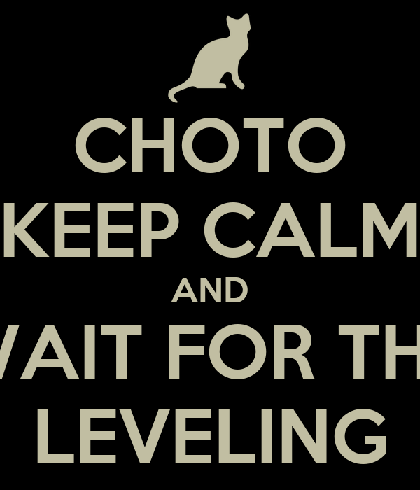 CHOTO KEEP CALM AND WAIT FOR THE LEVELING