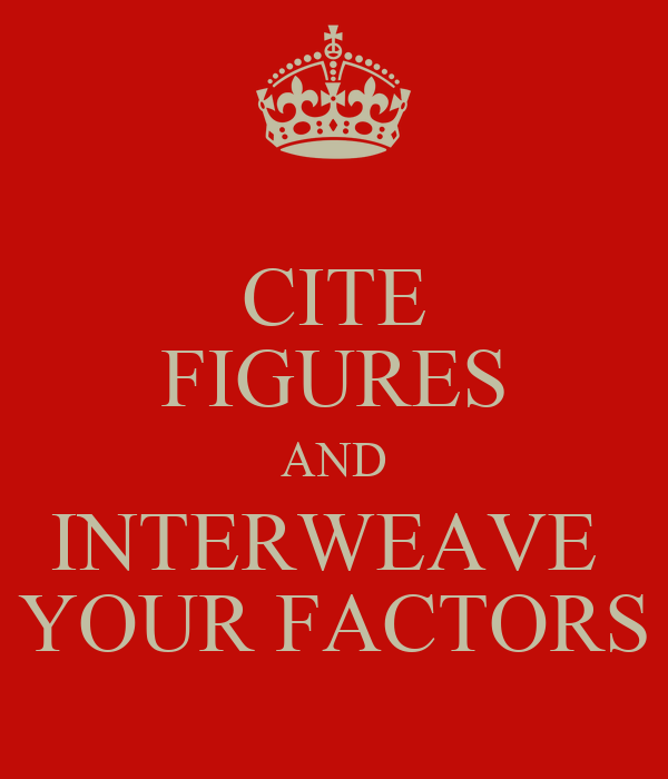 CITE FIGURES AND INTERWEAVE  YOUR FACTORS