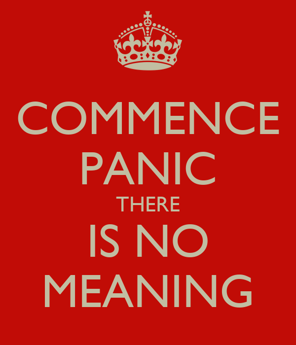 COMMENCE PANIC THERE IS NO MEANING