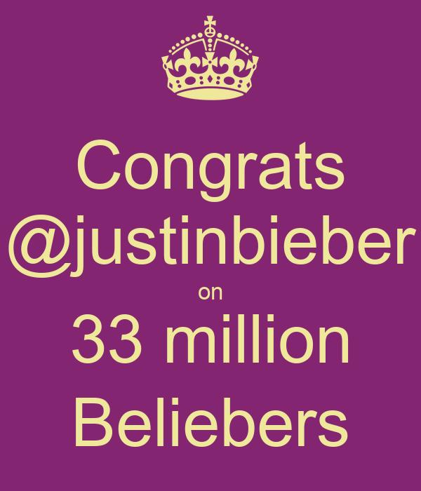 Congrats @justinbieber on 33 million Beliebers