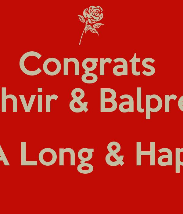 congrats sukhvir balpreet wish you both a long happy married life