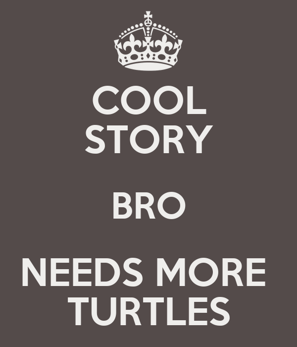 COOL STORY BRO NEEDS MORE  TURTLES
