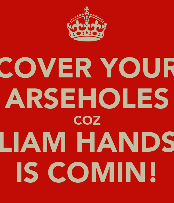 COVER YOUR ARSEHOLES COZ LIAM HANDS IS COMIN!