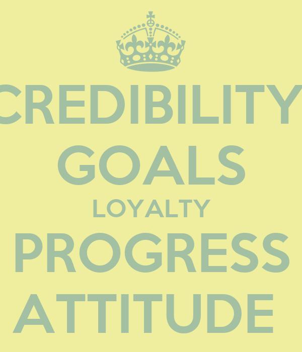 CREDIBILITY  GOALS LOYALTY PROGRESS ATTITUDE
