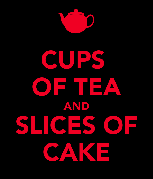 CUPS  OF TEA AND SLICES OF CAKE