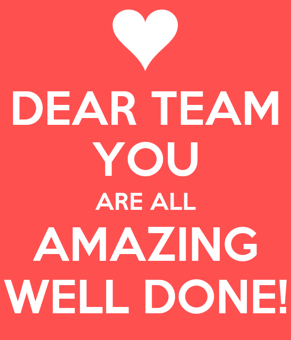 DEAR TEAM YOU ARE ALL AMAZING WELL DONE!
