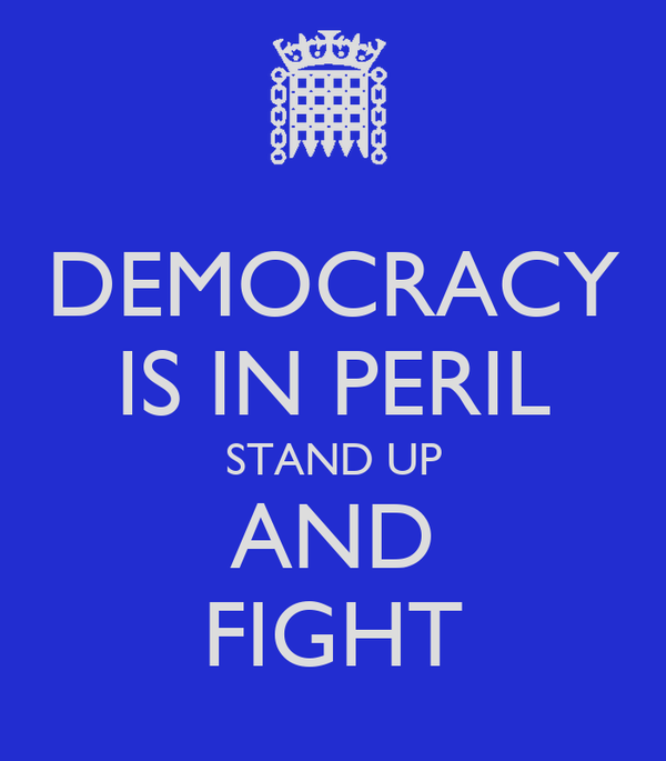 DEMOCRACY IS IN PERIL STAND UP AND FIGHT