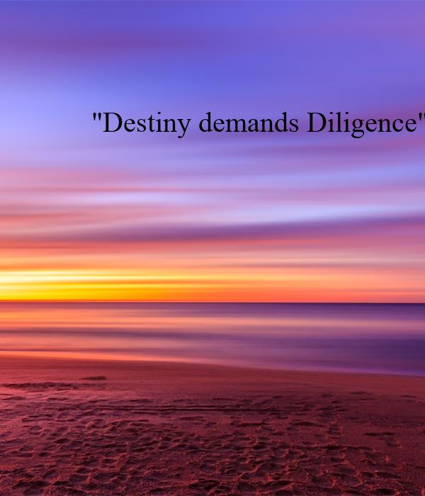 """Destiny demands Diligence"""