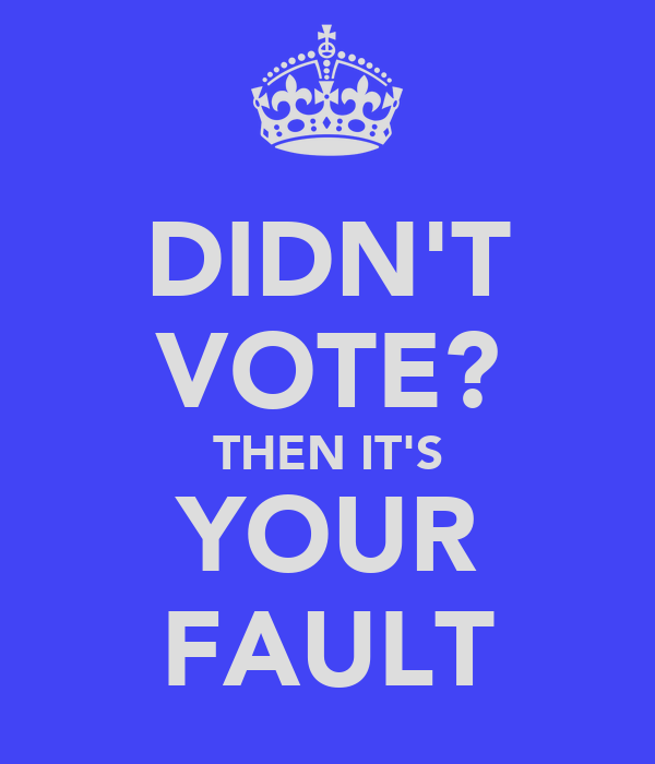 DIDN'T VOTE? THEN IT'S YOUR FAULT