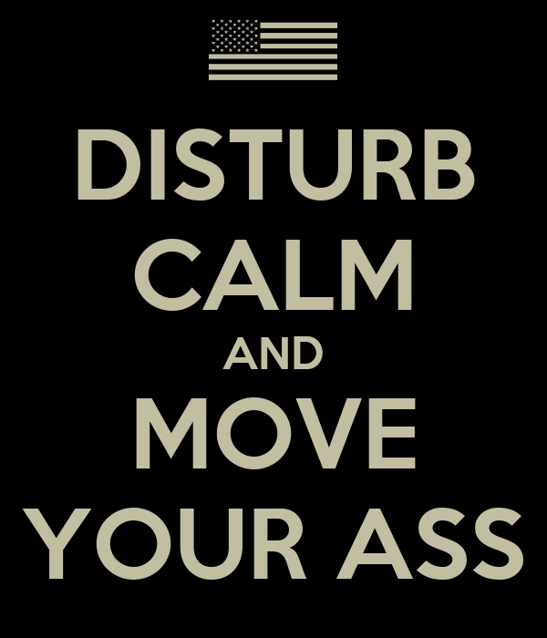 DISTURB CALM AND MOVE YOUR ASS