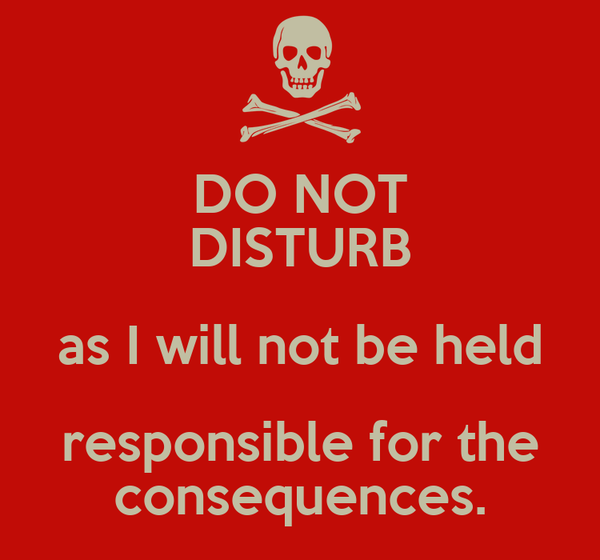DO NOT DISTURB as I will not be held responsible for the consequences.