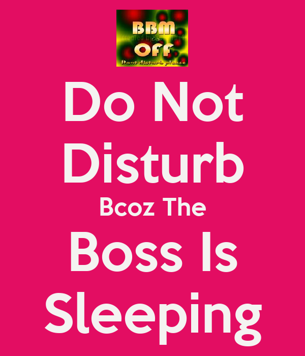 Do Not Disturb Bcoz The Boss Is Sleeping