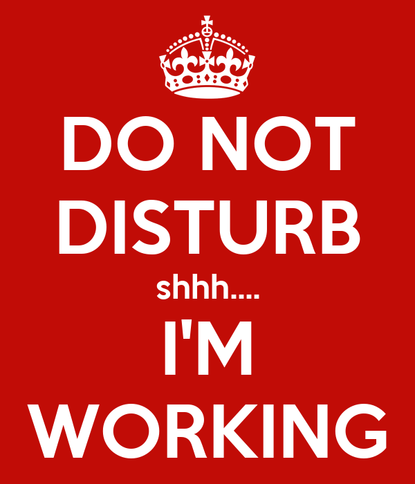 DO NOT DISTURB shhh.... I'M WORKING