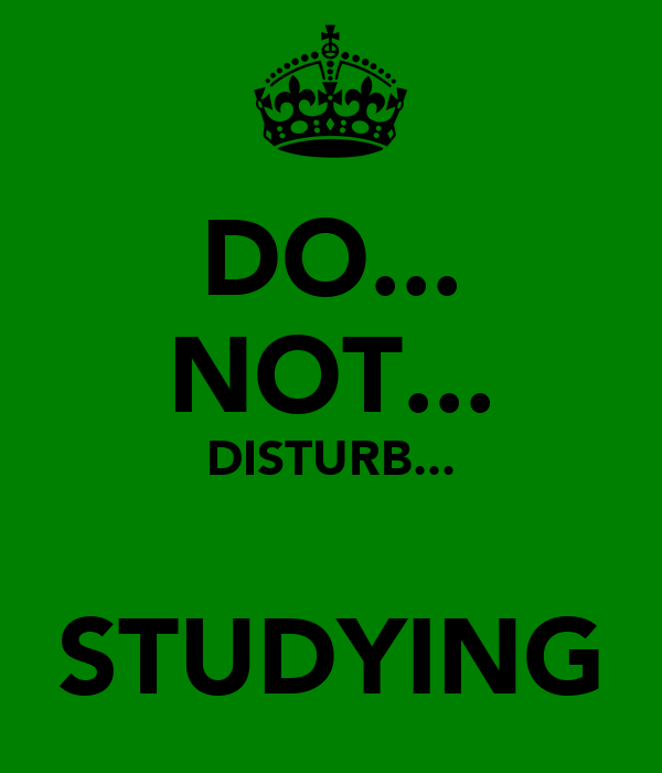 DO... NOT... DISTURB...  STUDYING
