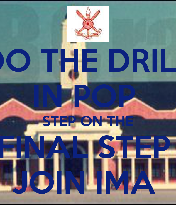 DO THE DRILL IN POP  STEP ON THE FINAL STEP  JOIN IMA