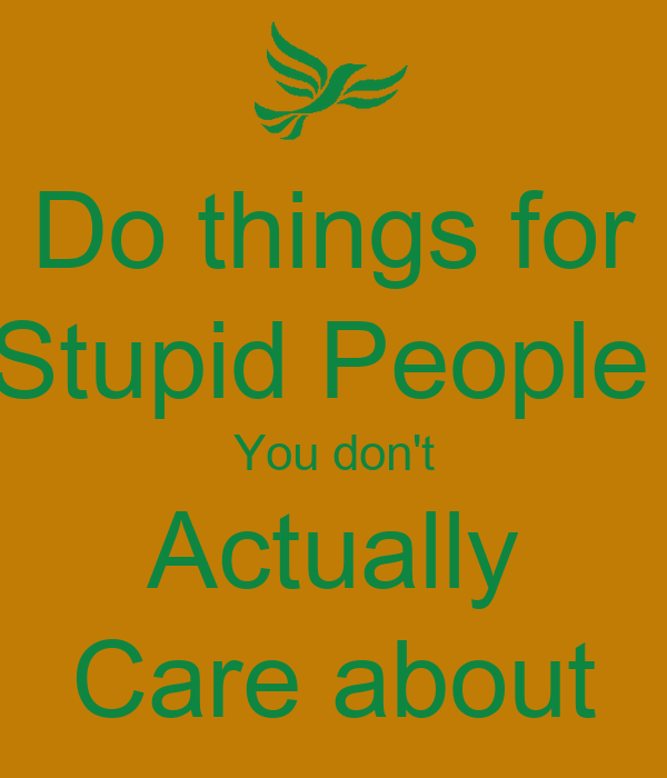 Do things for Stupid People  You don't Actually Care about
