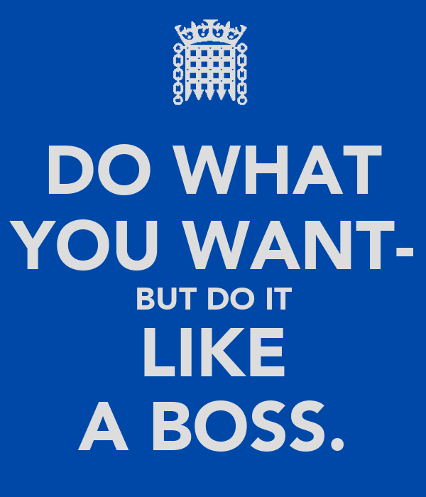 DO WHAT YOU WANT- BUT DO IT LIKE A BOSS.
