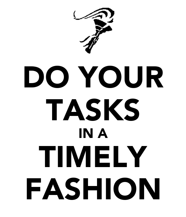 DO YOUR TASKS IN A TIMELY FASHION