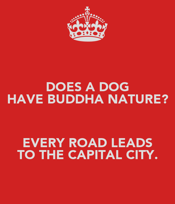 DOES A DOG HAVE BUDDHA NATURE?  EVERY ROAD LEADS TO THE CAPITAL CITY.