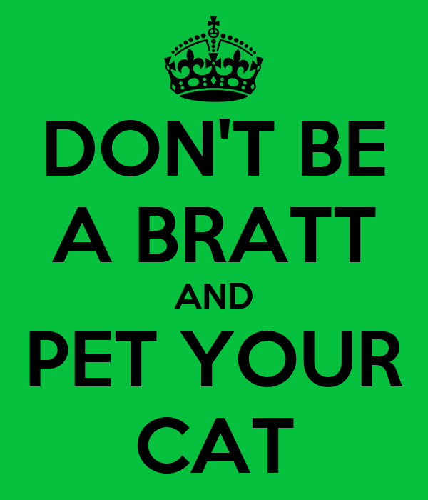 DON'T BE A BRATT AND PET YOUR CAT