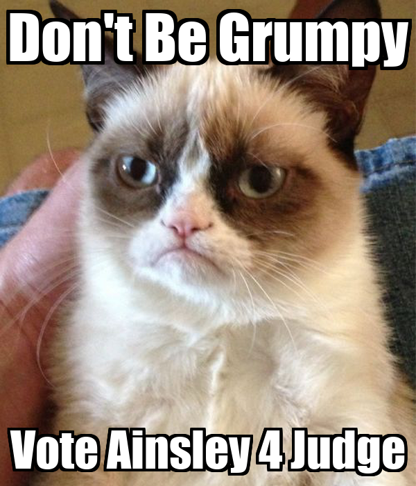 Don't Be Grumpy Vote Ainsley 4 Judge