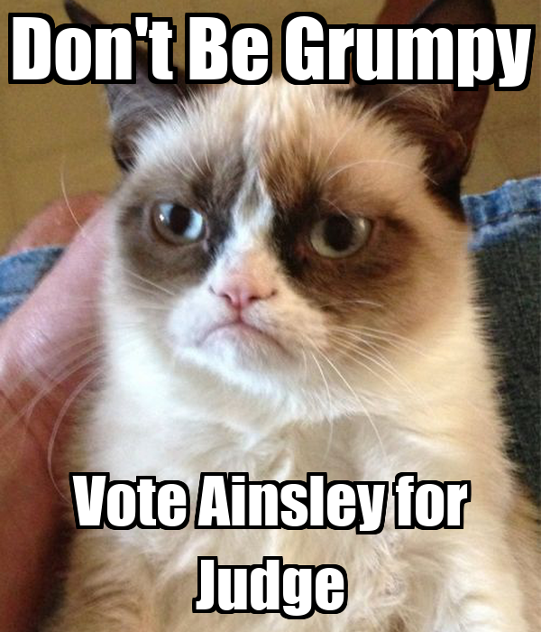 Don't Be Grumpy Vote Ainsley for Judge