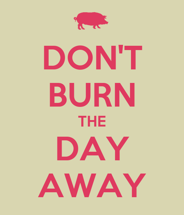 DON'T BURN THE DAY AWAY