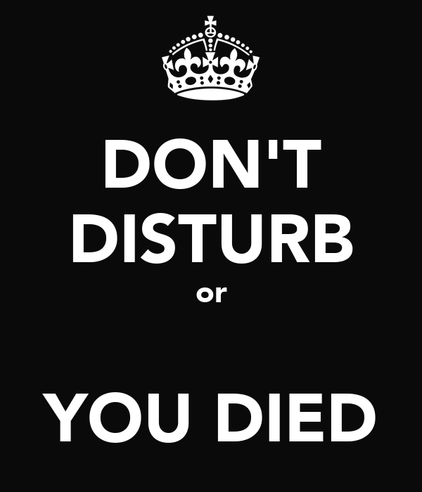 DON'T DISTURB or  YOU DIED
