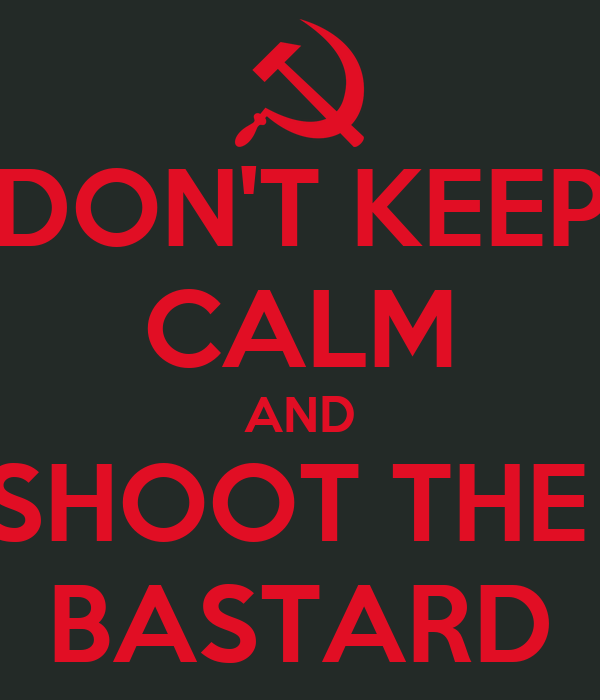DON'T KEEP CALM AND SHOOT THE  BASTARD