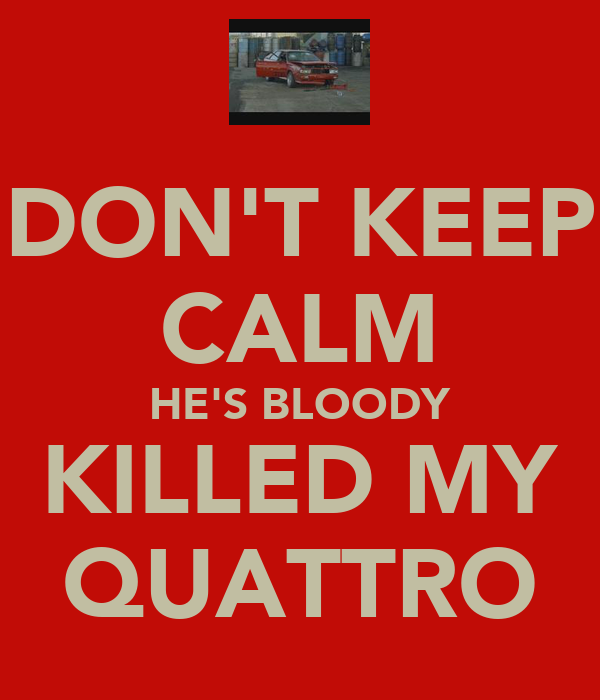 DON'T KEEP CALM HE'S BLOODY KILLED MY QUATTRO