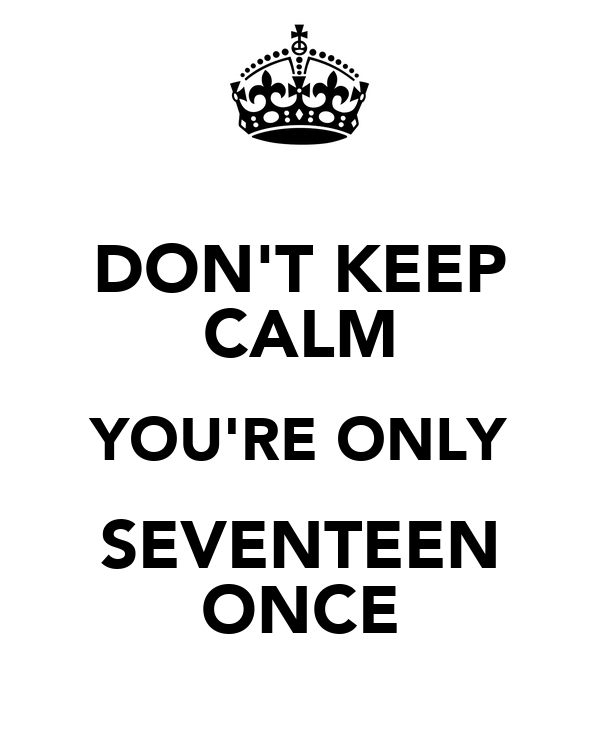 DON'T KEEP CALM YOU'RE ONLY SEVENTEEN ONCE