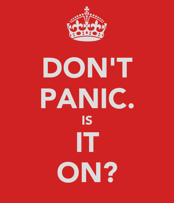 DON'T PANIC. IS IT ON?