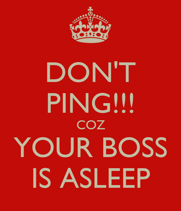 DON'T PING!!! COZ YOUR BOSS IS ASLEEP