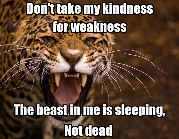 Don't take my kindness for weakness The beast in me is sleeping, Not dead