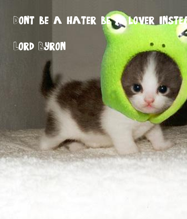 Dont be a hater be a lover instead
