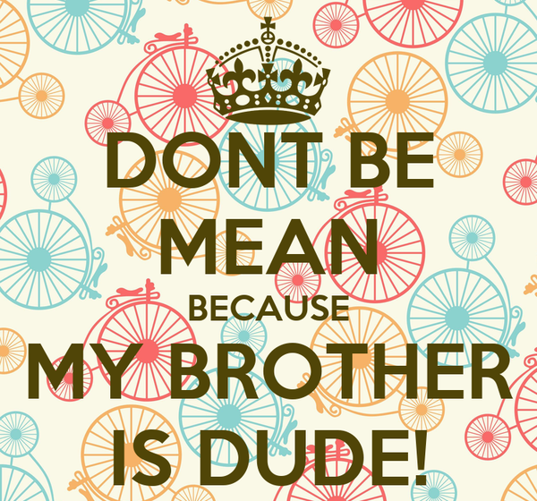 DONT BE MEAN BECAUSE MY BROTHER IS DUDE!