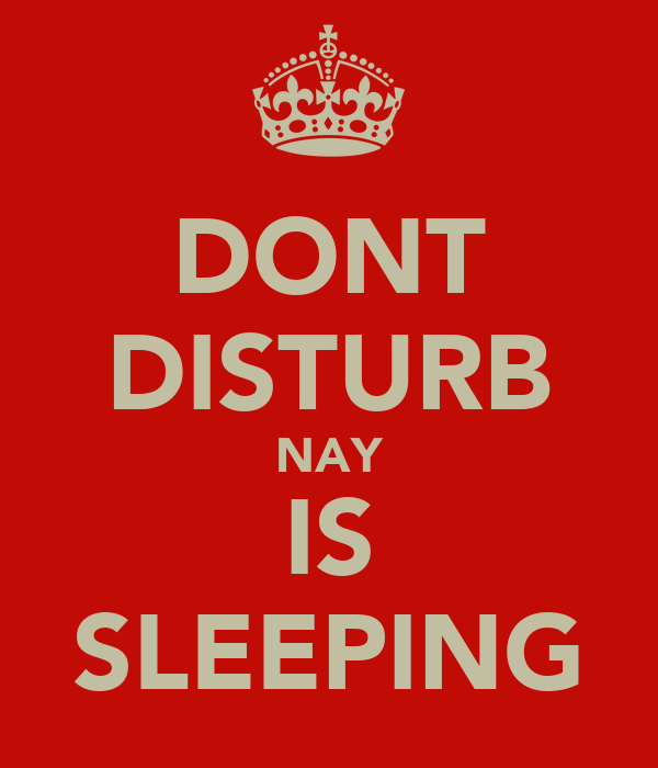 DONT DISTURB NAY IS SLEEPING