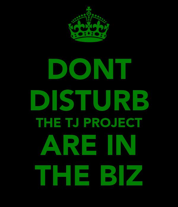 DONT DISTURB THE TJ PROJECT ARE IN THE BIZ