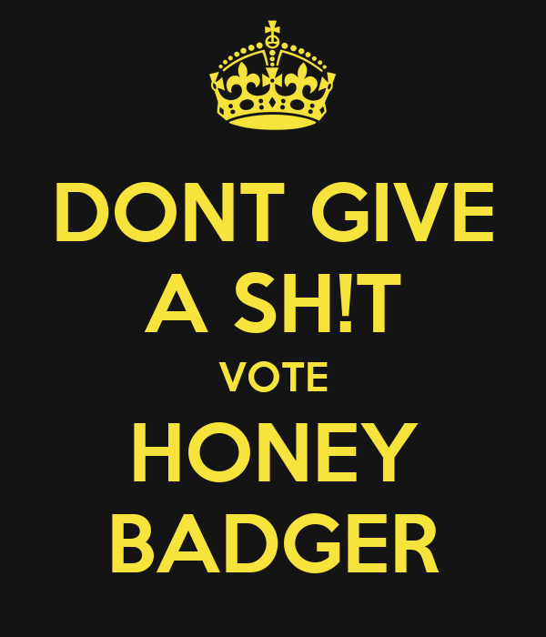 DONT GIVE A SH!T VOTE HONEY BADGER